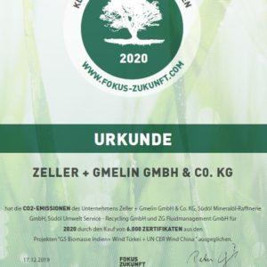 С января 2020 года Zeller+Gmelin климатически нейтральная компания